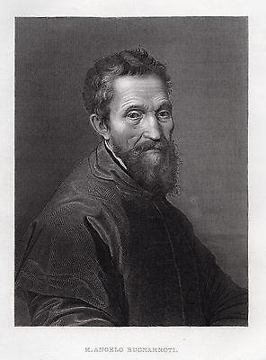 """Sharp 1800s Michelangelo Antique Detailed Engraving """"Michelangelo Portrait"""" COA"""