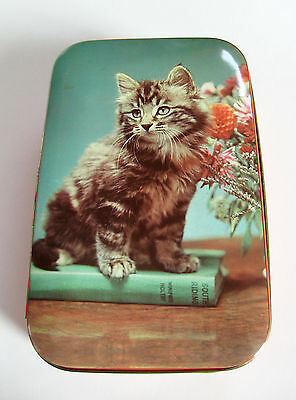 Vintage Tin Hinged Metal Box 1950s Kitten Cat on Book Photo Turquoise EUC
