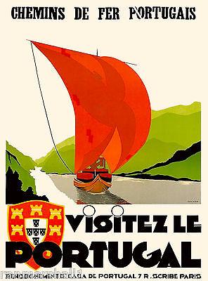 Visit Portugal Portugese Spain Spanish Vintage Travel Advertisement Art Poster