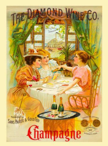 Diamond Wine Company Champagne Wine Vintage Advertisement Art Poster