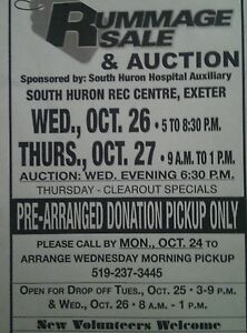 South Huron Hospital Auxiliary RUMMAGE SALE AND AUCTION