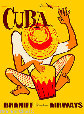 Cuban Drum - Bongo Drums Cuba Cuban Caribbean Island Vintage Travel Advertisement Art Poster