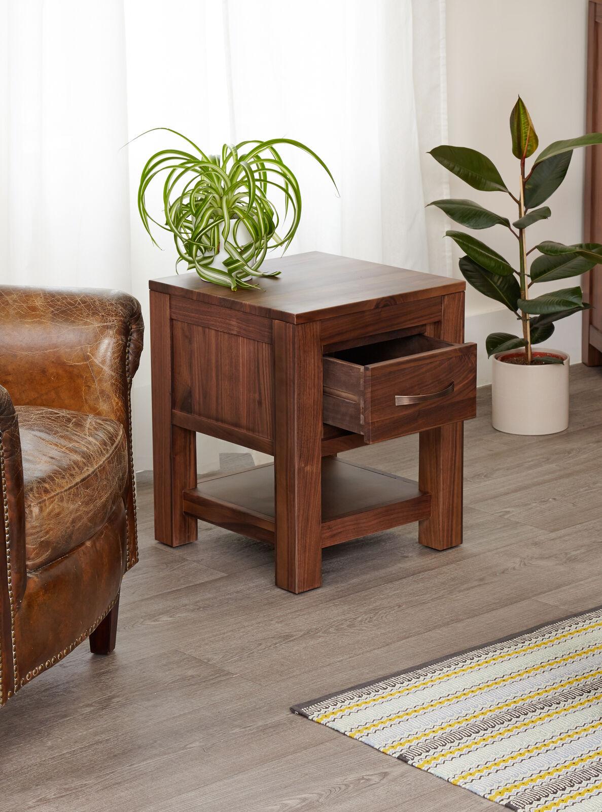 Mayan solid walnut dark wood lamp table bedside cabinet with 1 mayan solid walnut dark wood lamp table bedside cabinet with 1 drawer aloadofball Choice Image