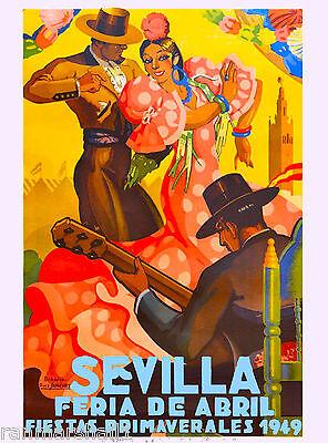 1949 Sevilla Seville Spain Europe European Vintage Travel Advertisement Poster