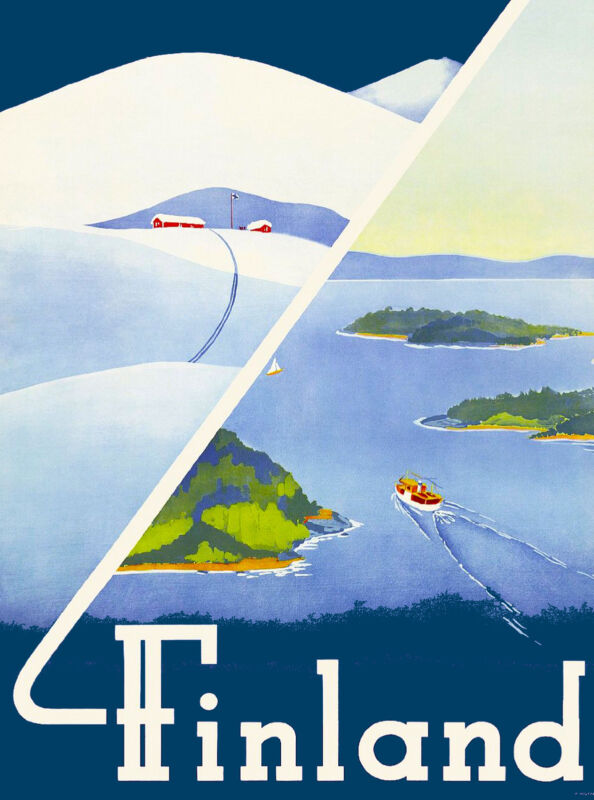 Finland Scandanavia European Vintage Travel Advertisement Art Poster