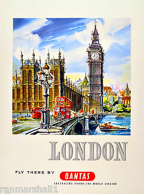 London Big Ben England Great Britain Qantas Travel Advertisement Art Poster
