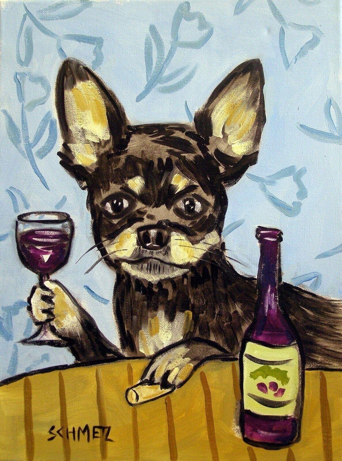 DACHSHUND surfing dog 13x19  art PRINT dog animals impressionism dog new