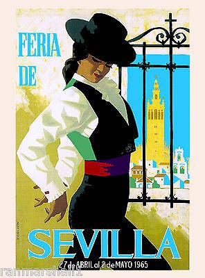 1965 Feria de Sevilla Seville Spain Europe Vintage Travel Advertisement Poster
