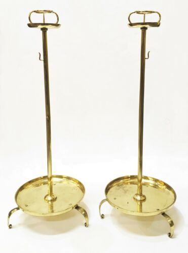Japanese Meiji Period Pair of Brass Candle Stands Shokudai