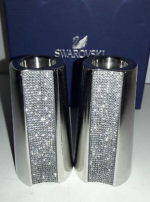 100% Authentic Swarovski Crystal Candle Holders Silver-Tone With Box - 2