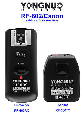 Yongnuo Blitzauslöser Fernauslöser RF-602/C (1x Sender/Empfänger inkl. Kabel)