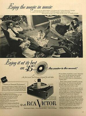 RCA Victor Record Player Magazine Print Ad Vintage Household Electronic Original