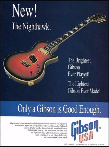 Gibson Nighthawk Series sunburst guitar 1993 ad 8 x 11 advertisement print