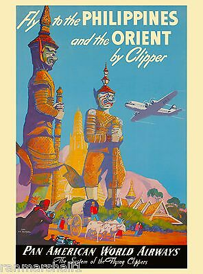 Philippines and the Orient by Clipper Vintage Travel Advertisement Poster