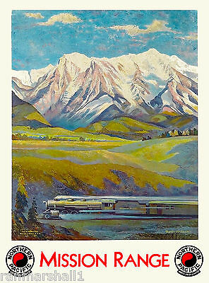 Montana Mission Range United States America Travel Advertisement Art Poster