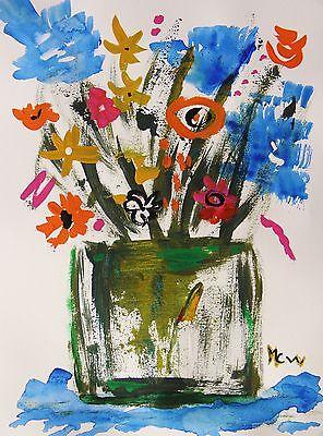FLOWERS Original SALE  Naive Folk Outsider art Mary Carol Williams  MCW Acrylic