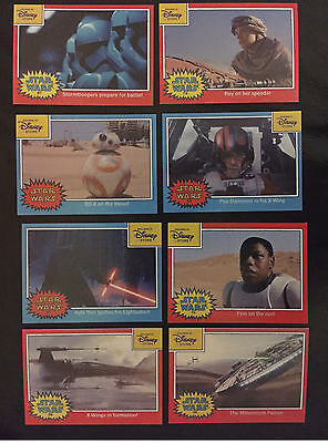 COMPLETE SET Disney Store Star Wars The Force Awakens 8 Topps Trading Card Promo