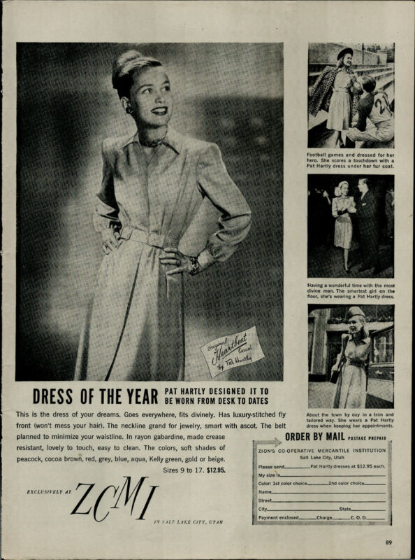 1946 ZCMI Heartbeat Dress of The Year Pat Hartly  Vintage Print Ad 3326