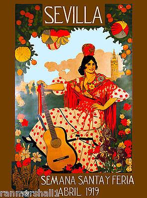 1919 Sevilla Seville Spain Europe European Vintage Travel Advertisement Poster