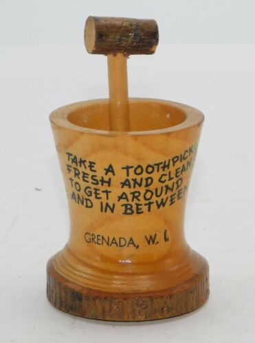 Wood Turned Souvenir Toothpick Holder with a Handle