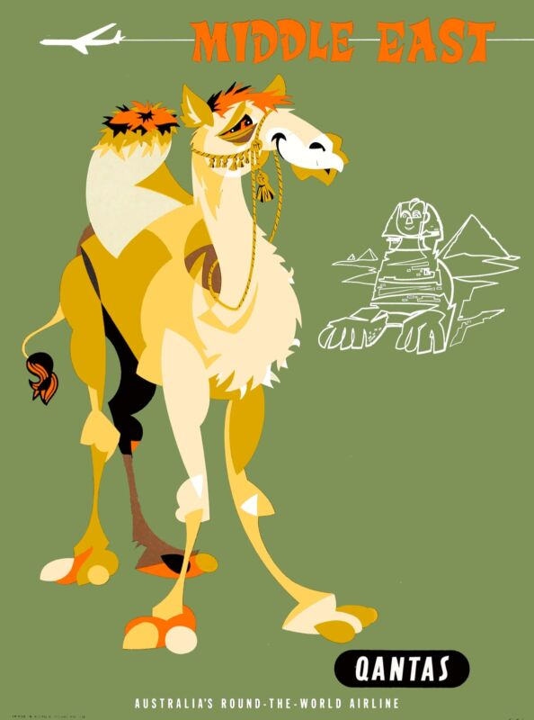 Middle East Arabian Camel Qantas Vintage Travel Advertisement Art  Poster