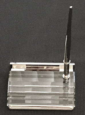 Crystal And Silver Business Card Holder For A Desk With A Ballpoint Pen New