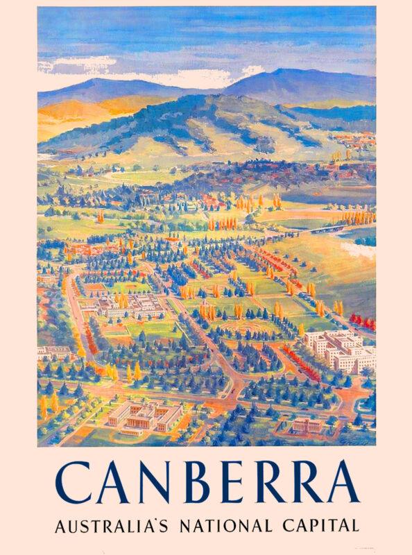 Canberra Australia Australian Capital Vintage Travel Advertisement Art Poster