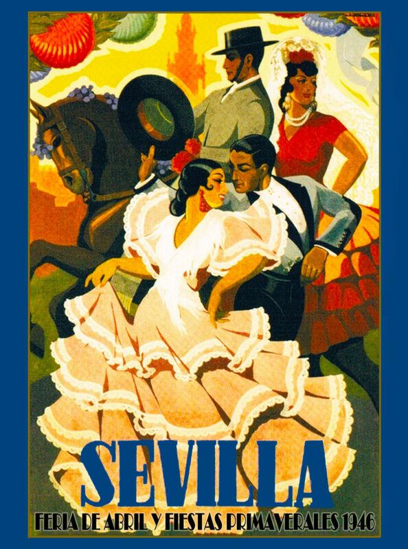 1946 Sevilla Seville Spain Europe European Vintage Travel Advertisement Poster