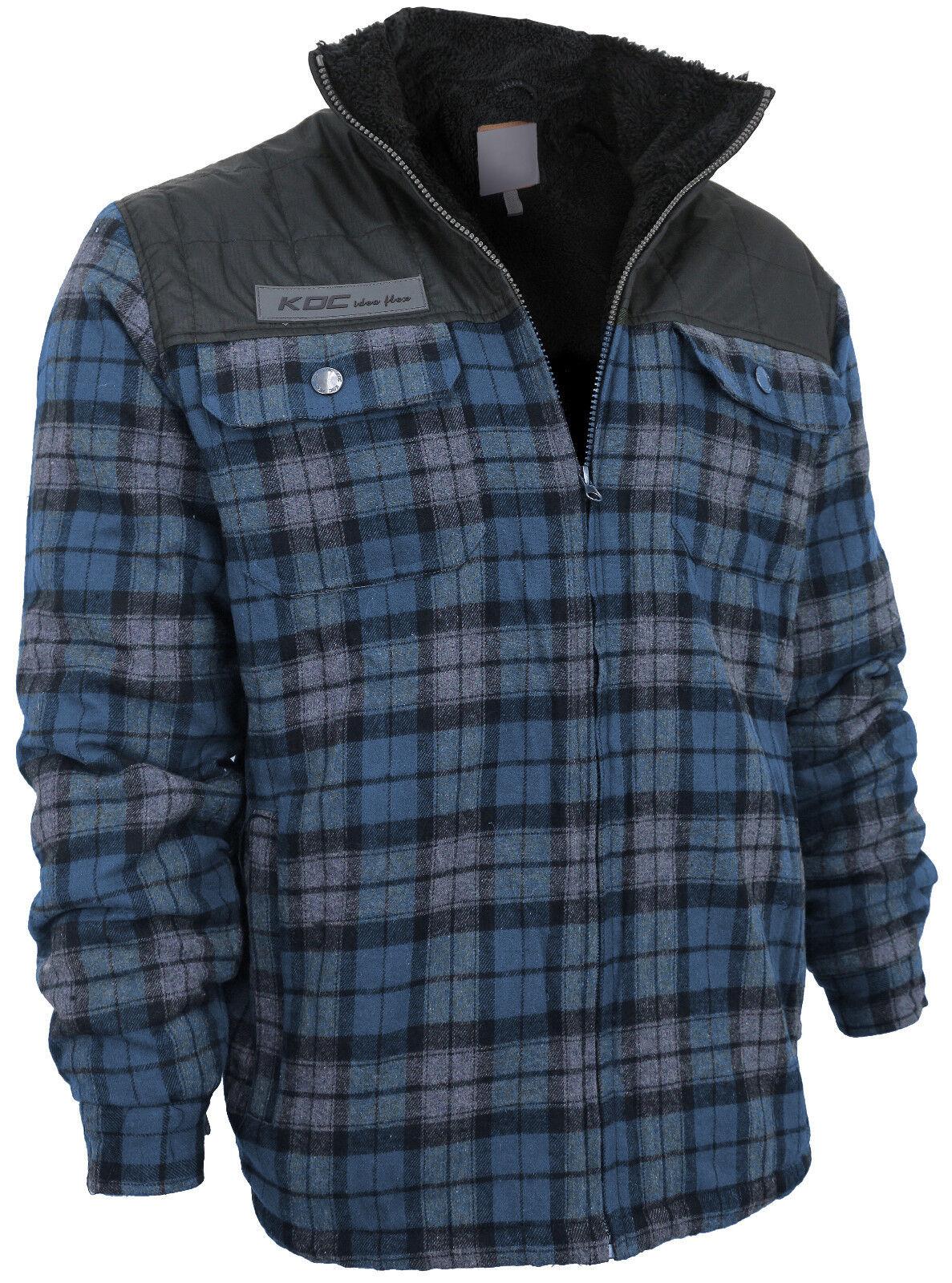 Men's Heavy Fleece Lined Sherpa Hoodie Plaid Flannel Jacket With Hood KDC Blue (No Hood)