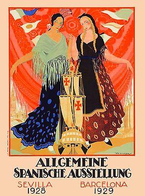 1928 Sevilla 1929 Barcelona Spain Espana Vintage Travel Advertisement Poster