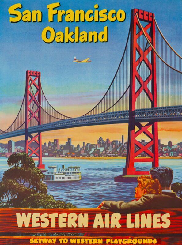 San Francisco Oakland California United States Travel Advertisement Poster