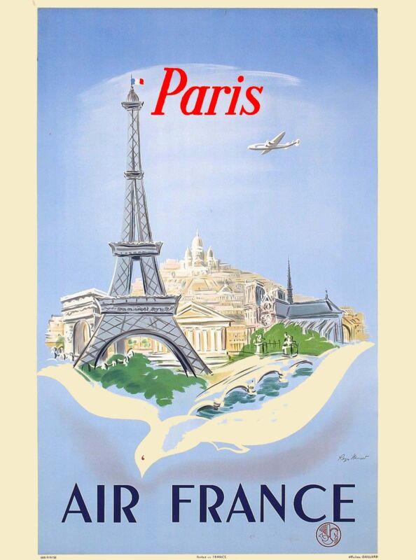 Eiffel Tower Paris French France Europe European Travel Poster Advertisement