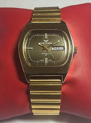 NOS 1970's Waltham Selfwinding Swiss Made 17 Jewel Automatic Goldtone Watch (01)