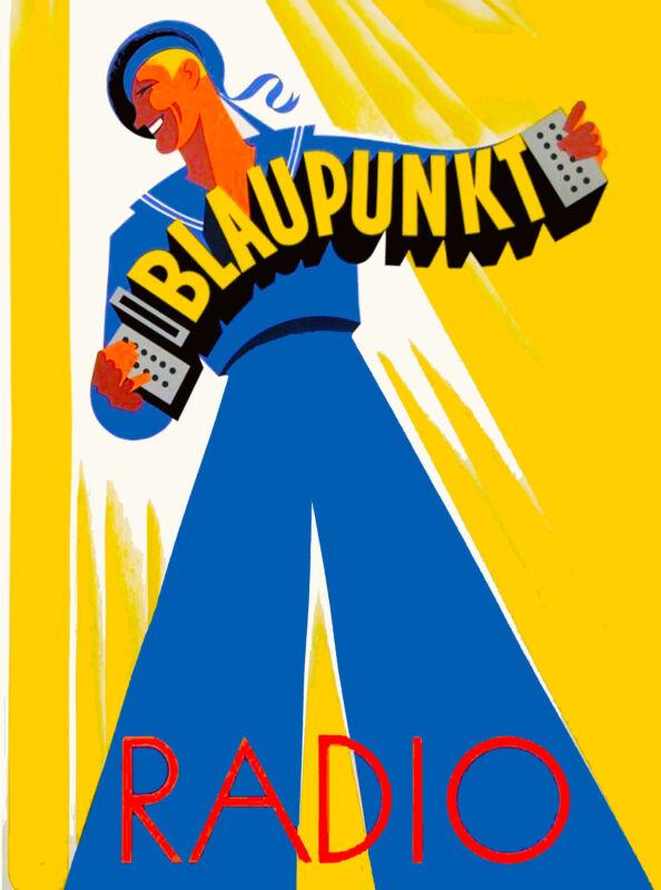 Blaupunkt Radio Germany German European Vintage Travel Advertisement Poster