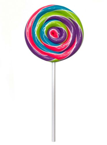 NO HOOK Rainbow Candy Lollipop Christmas Ornament Pick Realistic Photo Prop