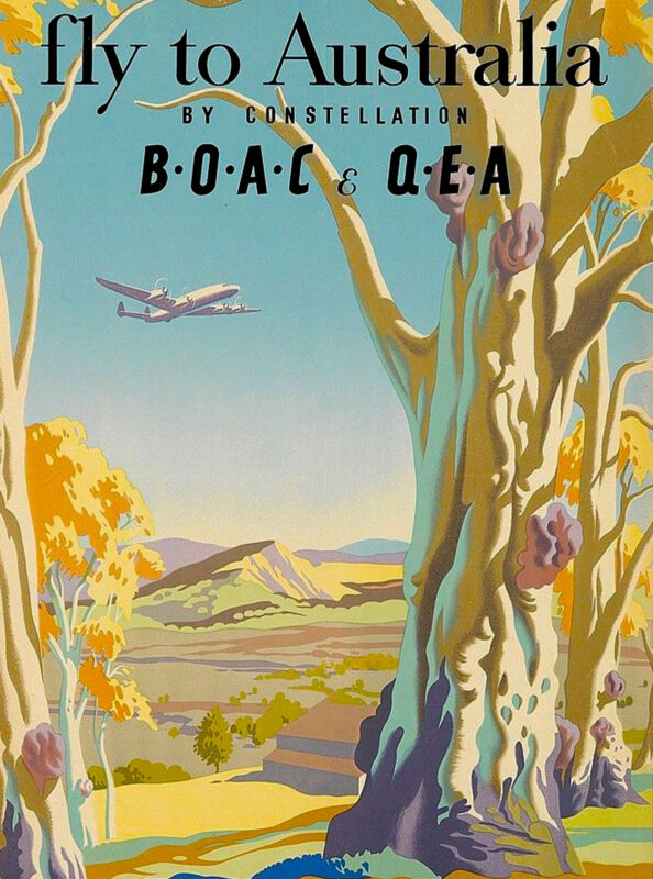 Fly to Australia Australian by Air Vintage Travel Advertisement Art Poster