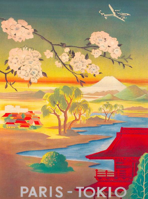 Japan Japanese Paris Tokyo Mt. Fuji Asia Vintage Travel Advertisement Poster