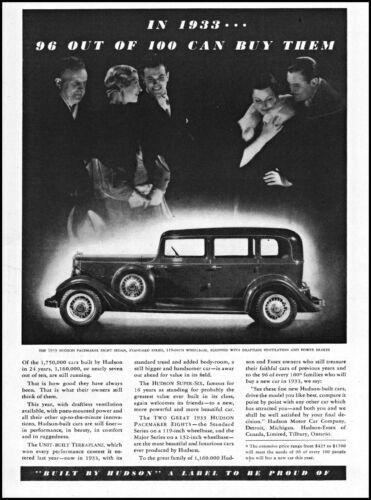 1933 Hudson Pacemaker Eight Sedan car couples auto vintage photo print ad ads51