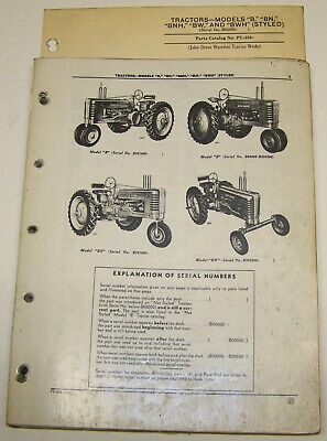John Deere B Bn Bnh Bw Bwh Styled Dealer Parts Catalog Pc-330