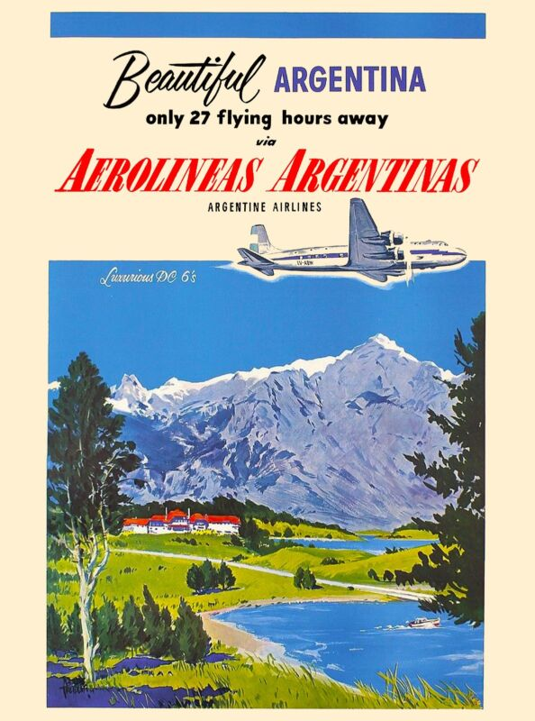 Beautiful Argentina South America Vintage Travel Advertisement Art Poster