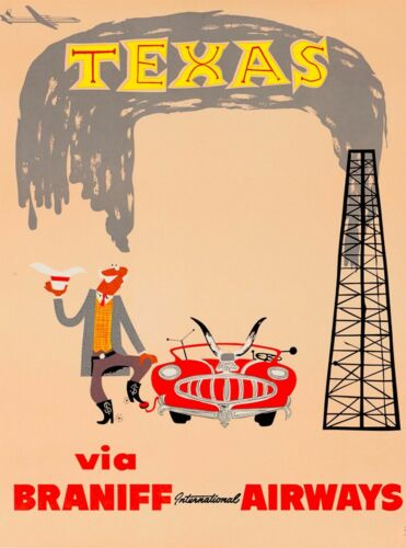 Texas Oil Well Vintage United States Travel Advertisement Art Posters Print