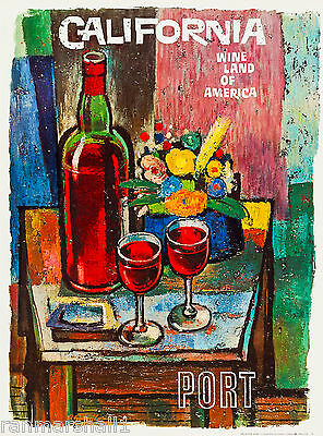 Port California Wine (Wine Land California Port Country United States Travel Advertisement Art Poster  )