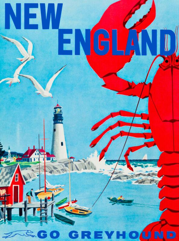 New England United States America Vintage Travel Advertisement Art Poster Bus