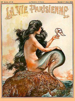 1925 La Vie Parisienne Mermaid French Nouveau France Travel Advertisement Poster for sale  La Verne