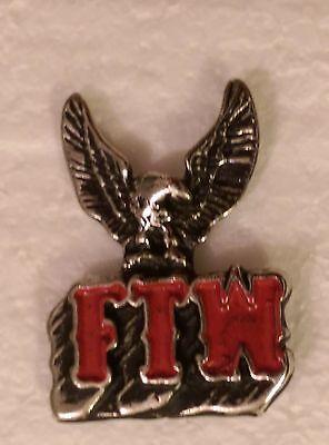 "(#M440) FTW with EAGLE Pewter Vest / Hat Pin 1.5"" x 1"" Biker"