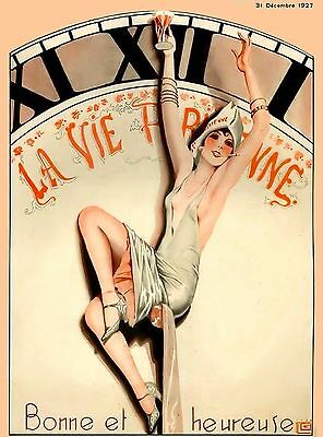 1920's La Vie Parisienne French Clock Face France Travel Advertisement Poster