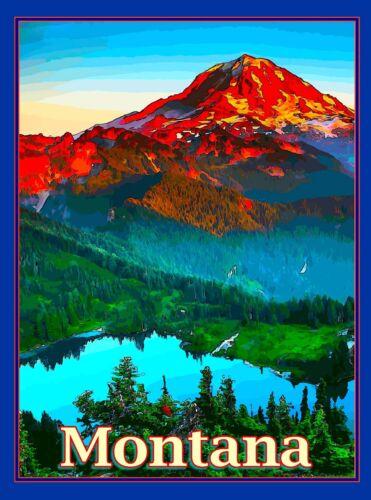 Montana Scenic Mountains United States America Travel Advertisement Art Poster