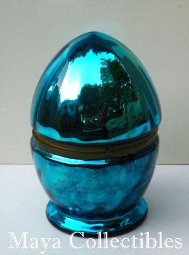"""Rare Antique Mercury Glass Czechoslovakia Cordial Set Egg Bar Decanter 9 1/2 """""""