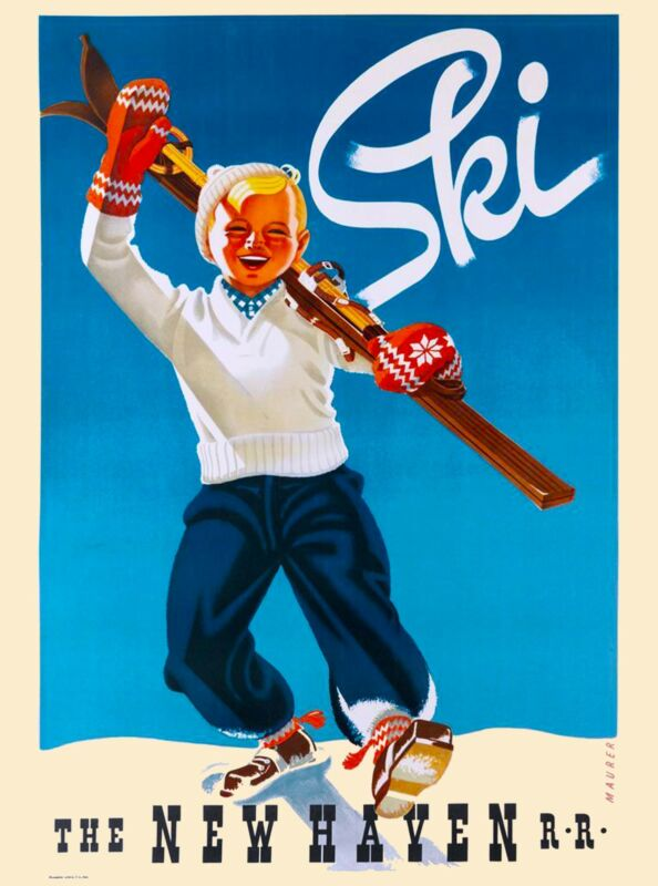 Ski Connecticut United States America Haven Vintage Travel Advertisement Poster