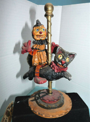 Halloween Folk Art~David Bruce/Acorn Cottage~Merry Go Round,Veggie Rider on Cat